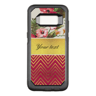 Chic Personalized Hibiscus and Chevrons OtterBox Commuter Samsung Galaxy S8 Case