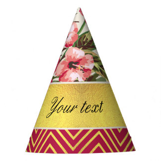 Chic Personalized Hibiscus and Chevrons Party Hat