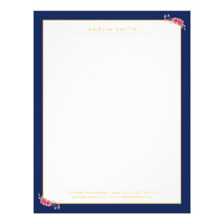 Chic Personalized Name Blue Border Pink Flowers Letterhead Template