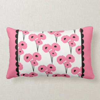 CHIC PILLOW_MOD 241 PINK & BLACK POPPIES LUMBAR PILLOW