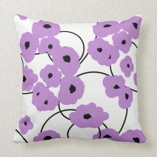 CHIC PILLOW_MOD LAVENDER AND BLACK POPPIES THROW PILLOW