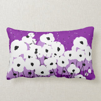 CHIC PILLOW_MOD WHITE/LAVENDER & BLACK POPPIES LUMBAR PILLOW