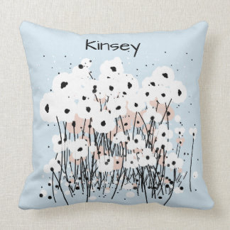 CHIC PILLOW_MOD WHITE/LAVENDER & BLACK POPPIES THROW PILLOW