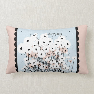 CHIC PILLOW_MOD WHITE/PINK & BLACK POPPIES LUMBAR PILLOW