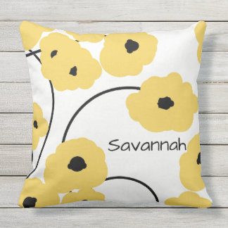 CHIC PILLOW_MOD YELLOW & BLACK POPPIES THROW PILLOW