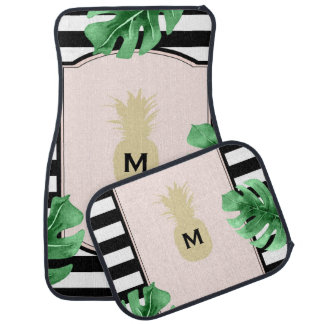 Chic Pineapple & Tropical Leaves Monogrammed Car Mat