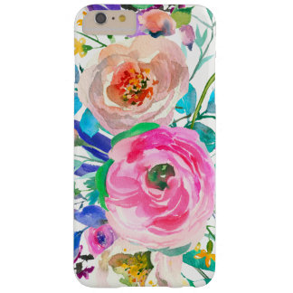 Chic Pink And Beige Flowers Barely There iPhone 6 Plus Case