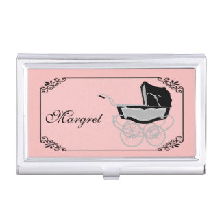 Chic Pink and Black Baby Pram Business Card Holder