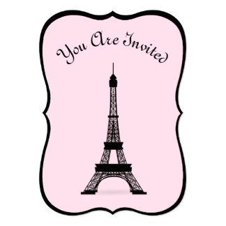 Chic Pink And Black French Style Eiffel Tower Card