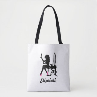 Chic Pink and Black Girly Girl Pink Shoes and Name Tote Bag