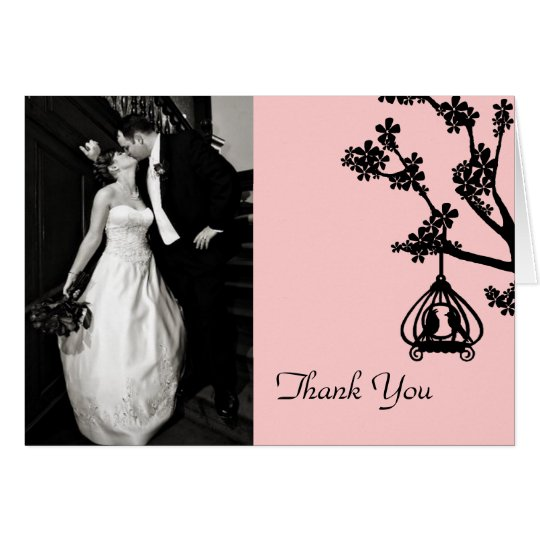 Chic Pink and Black Wedding Photo Thank You Card