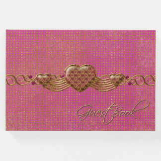 Chic Pink and Gold Hearts Wedding Guest Book