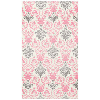 Chic Pink and Gray Damask Tablecloth