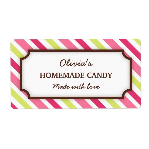 Chic pink and lime green stripes canning jar label