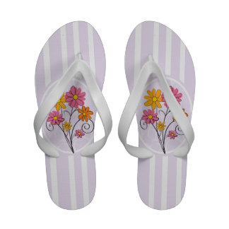 Chic pink and orange flowers and stripes Flip-Flops