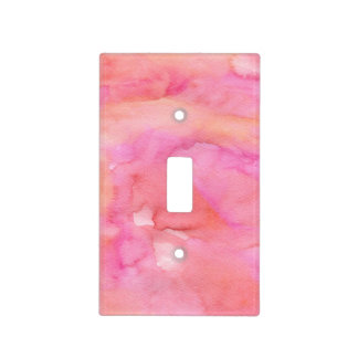 Chic Pink and Orange Watercolor Light Switch Cover