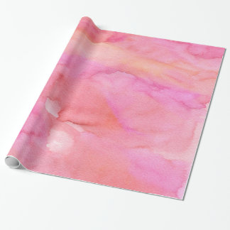Chic Pink and Orange Watercolor Wrapping Paper