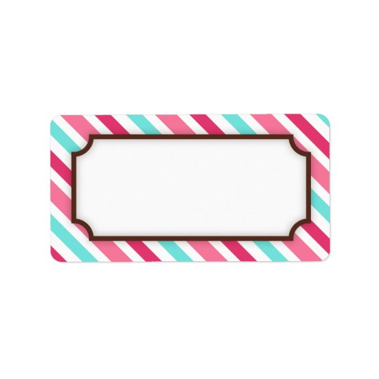 Chic pink and teal aqua stripes blank label