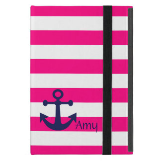 Chic Pink and White Stripes/Blue Anchor iPad Cover