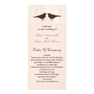 Chic pink bird cage, love birds wedding programs