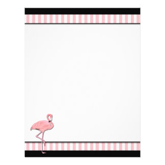 Chic Pink & Black Flamingo Business Letterhead