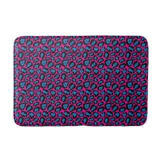 Chic Pink & Blue Leopard Print Bath Mat