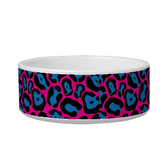Chic Pink & Blue Leopard Print Monogram Name Dish