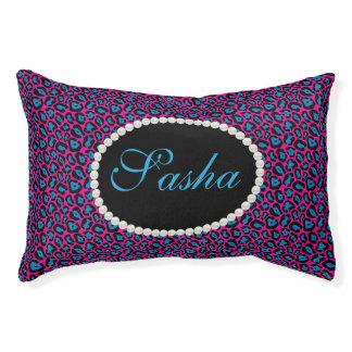 Chic Pink & blue Leopard Print Name Monogram Pet Bed