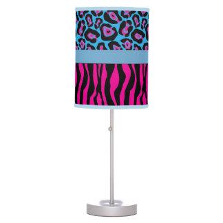 Chic Pink & Blue Zebra & Leopard Print Lamp