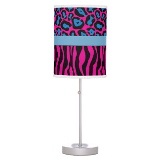 Chic Pink/Blue Zebra & Leopard Print Lamp