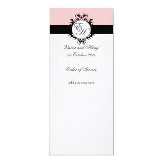 Chic Pink Damask Wedding Program on Linen 4x9.25 Paper Invitation Card