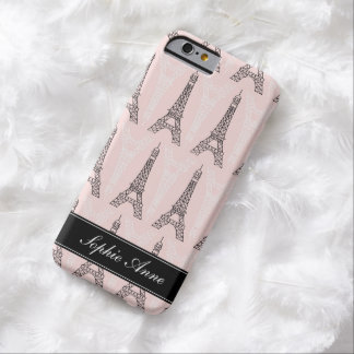 Chic Pink Eiffel Tower Pattern Barely There iPhone 6 Case