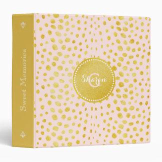 Chic pink faux gold glitter cheetah print monogram binder