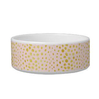 Chic pink faux gold glitter cheetah print monogram cat bowl