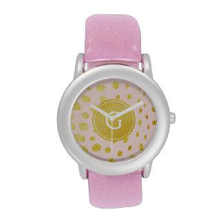 Chic pink faux gold glitter cheetah print monogram wrist watches
