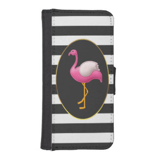 Chic Pink Flamingo Black and White Stripes iPhone SE/5/5s Wallet Case