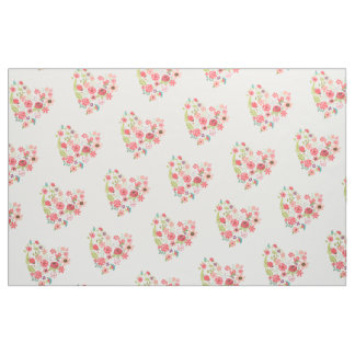 Chic Pink Floral Hearts Whimsical Girly Flowers Fabric