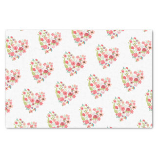 Chic Pink Floral Hearts Whimsical Girly Flowers Tissue Paper
