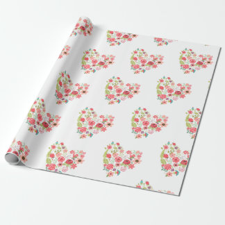 Chic Pink Floral Hearts Whimsical Girly Flowers Wrapping Paper