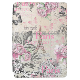 Chic pink floral Paris Eiffel Tower typography iPad Air Cover