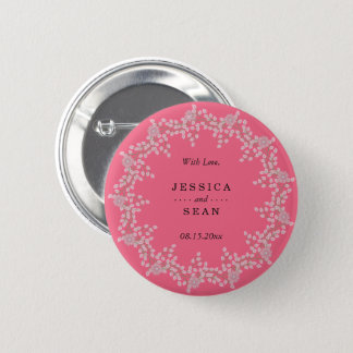 Chic Pink Floral & Pearls Wedding Favor 2 Inch Round Button