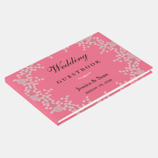 Chic Pink Floral & Pearls Wedding Guest Book