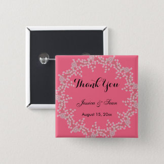 Chic Pink Floral & Pearls Wedding Thank You 2 Inch Square Button