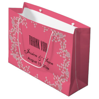 Chic Pink Floral & Pearls Wedding Thank You Large Gift Bag