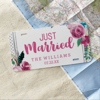 Chic Pink Floral & Silver Dot Wedding Just Married License Plate