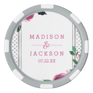 Chic Pink Floral & Silver Dots Wedding Favor Poker Chips
