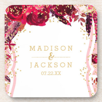 Chic Pink Floral Stripes & Gold Wedding Monogram Coaster