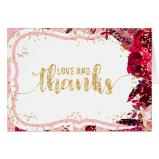 Chic Pink Floral Stripes Gold Wedding Thank You Card