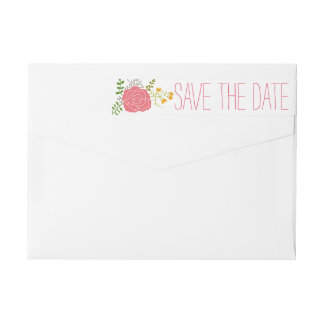 Chic Pink Flower Green Leaves Save The Date Wraparound Return Address Label