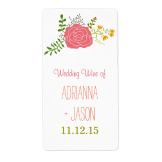 Chic Pink Flower Green Leaves Wedding Wine Shipping Label